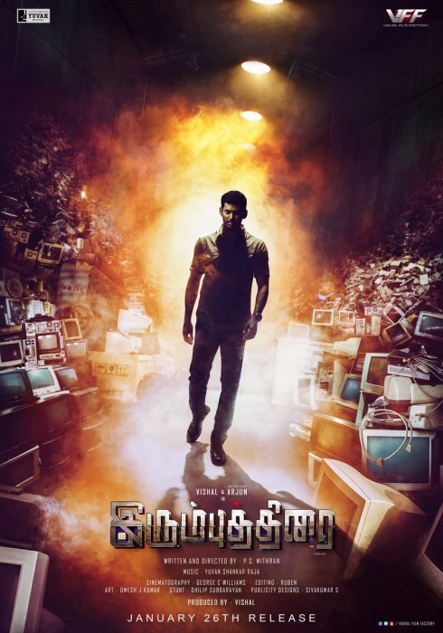Vishal sports an intense look in the terrific new poster of Irumbu Thirai