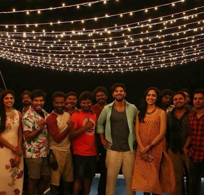 Dulquer Salmaan and Ritu Varma look nice together in this still from the shooting spot of Kannum Kannum Kollai Adithaal