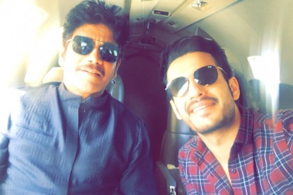 Akhil and Nagarjuna pose for a cool selfie as they gear up to attend the audio launch of Hello