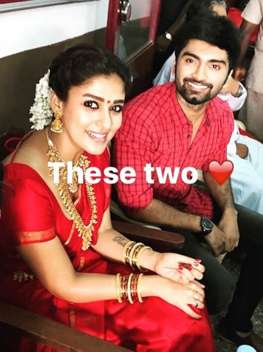 Photo: Nayanthara bonds with Atharvaa on the sets of Imaikkaa Nodigal