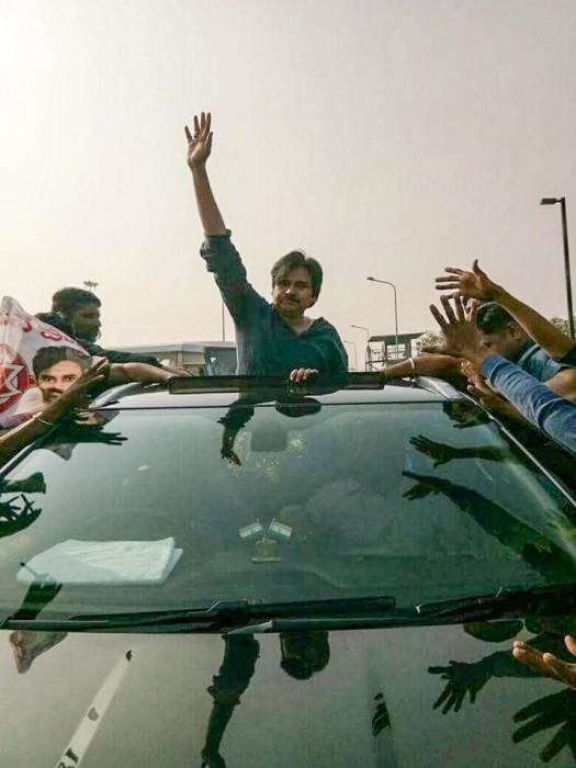 Pawan Kalyan arrives in Visakhapatnam to meet the striking DCI employees
