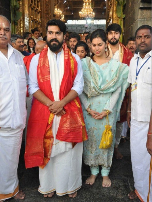 Photos: Ram Charan and wife Upasana visit Tirumala