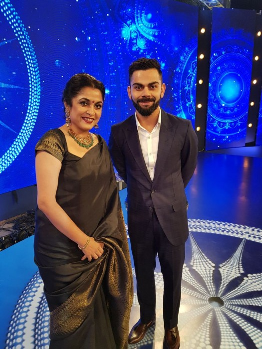 See pic: 'Sivagami' Ramya Krishnan's photo with Indian Cricket Captain Virat Kohli is fantabulous