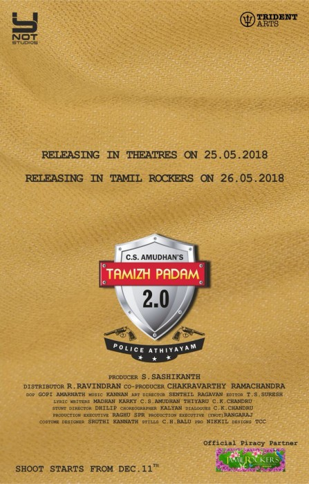 Tamizh Padam 2.0 First Look: Makers release the poster which will leave you in splits