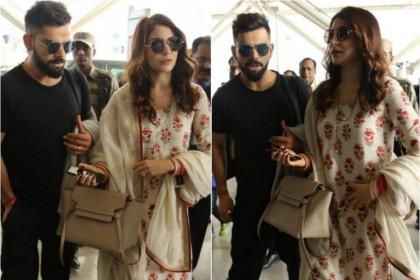 अनुष्का शर्मा और विराट कोहली को मुंबई एयरपोर्ट पर किया कैमरे में कैद