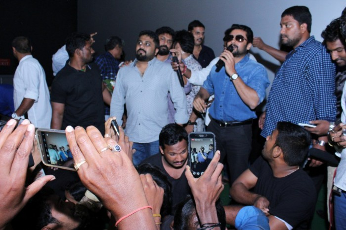Photos: Suriya meets fans at cinema halls across AP to celebrate the success of Gang
