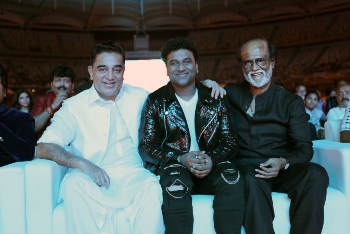 Photos: Devi Sri Prasad chills with Rajinikanth and Kamal Haasan