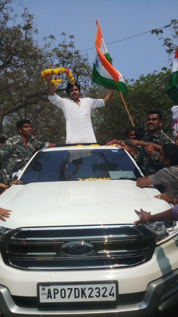 Photos: Pawan Kalyan leads the 'Jana Sena' brigade in Khammam