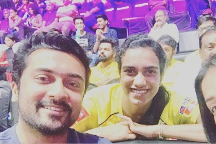 This photo of PV Sindhu with Suriya and Jyothika is priceless