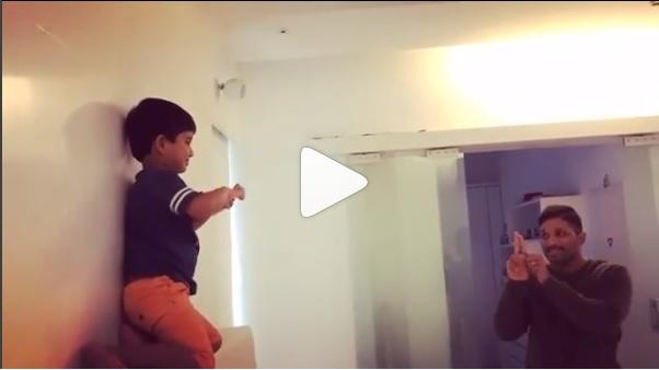 Watch Video: Allu Arjun and son Ayaan recreate Priya Prakash Varrier's bullet kiss and it is adorable