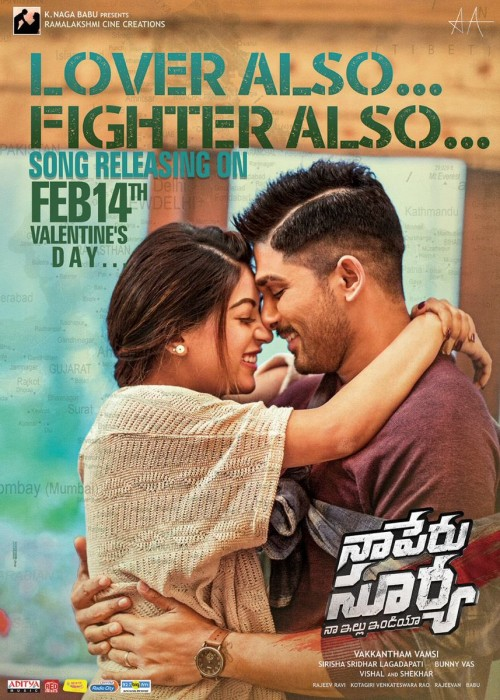 Second single from Allu Arjun's 'Naa Peru Surya' titled 'LOVER ALSO FIGHTER ALSO' will be out on Valentine's Day