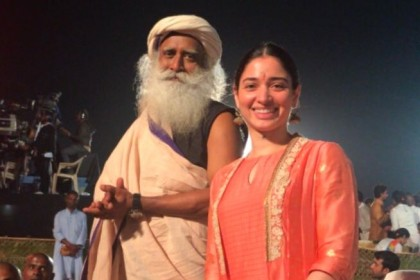 Photo: An ecstatic Tamannaah with Sadhguru during Mahashivratri celebrations