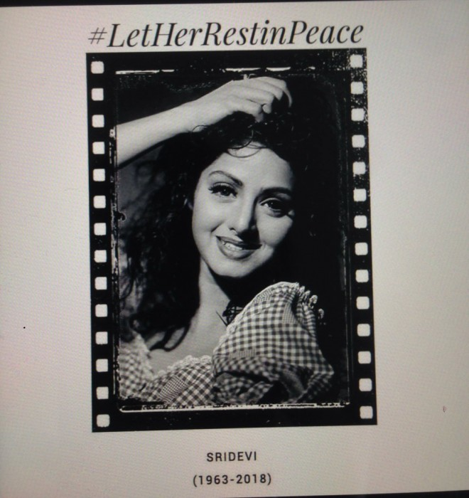 #LetHerRestinPeace – Celebrities start a campaign requesting everyone not to trivialise Sridevi demise case