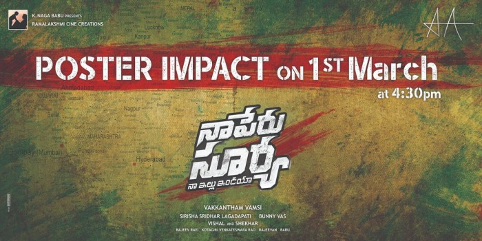 Another impactful poster from Allu Arjun's Naa Peru Surya will be out on March 1