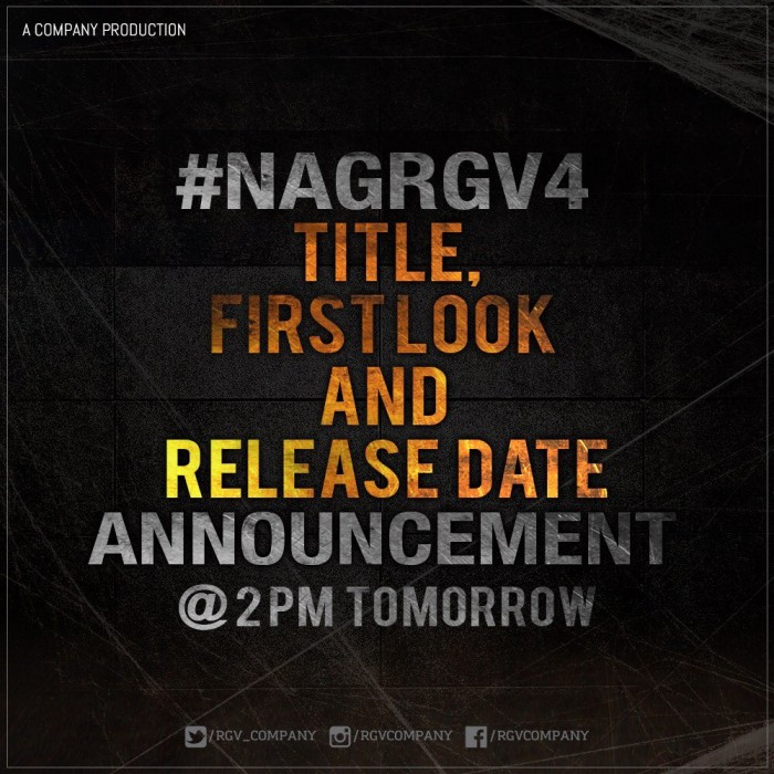 Ram Gopal Varma to unveil the title and first look of his next with Nagarjuna tomorrow