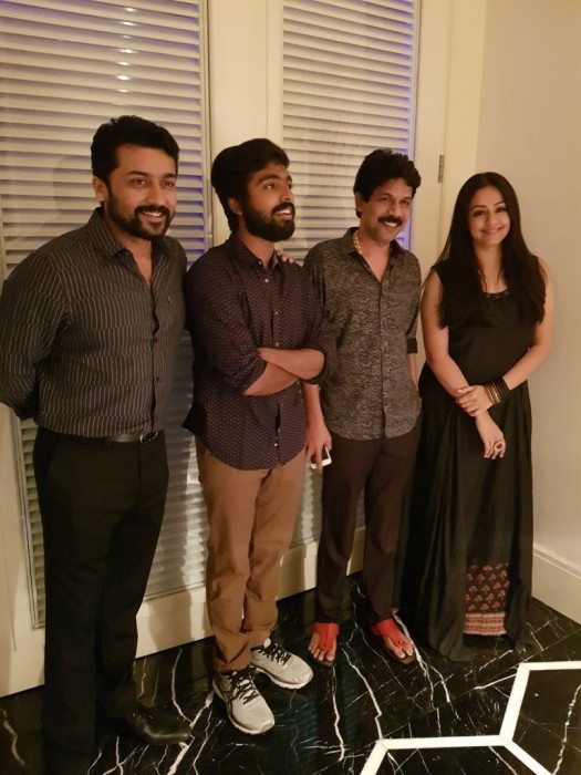 Photo: Jyothika and Suriya strike a pose at the Naachiyaar success party