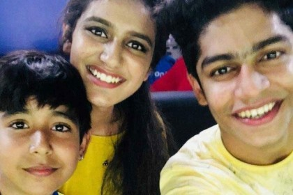 Priya Varrier is the cynosure of all eyes at a ISL match in Kochi