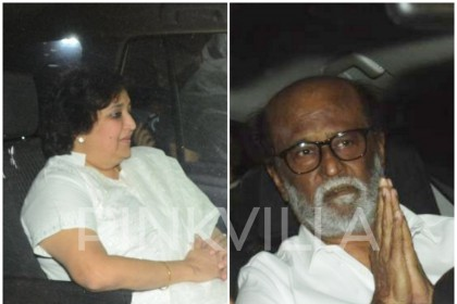 Superstar Rajinikanth at Anil Kapoor's residence with wife Latha to meet the bereaved Kapoor family