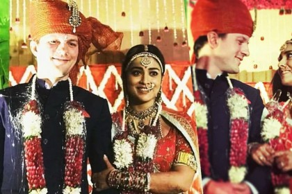 Andrei Koshcheev recites a romantic Hindi dialogue for Shriya Saran during their wedding ceremony