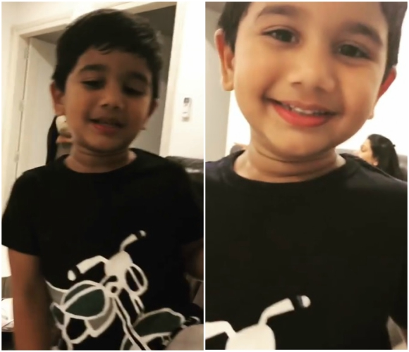 Allu Arjun's son Allu Ayaan sings a song from Ram Charan's Rangasthalam and the video is too cute