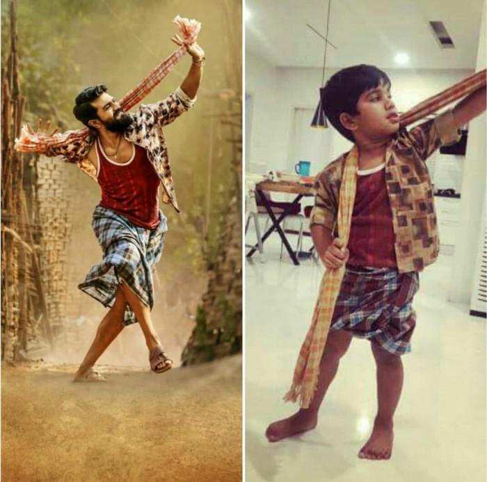 Photo: Allu Ayaan, son of Allu Arjun, poses like Ram Charan's character Chitti Babu in Rangasthalam