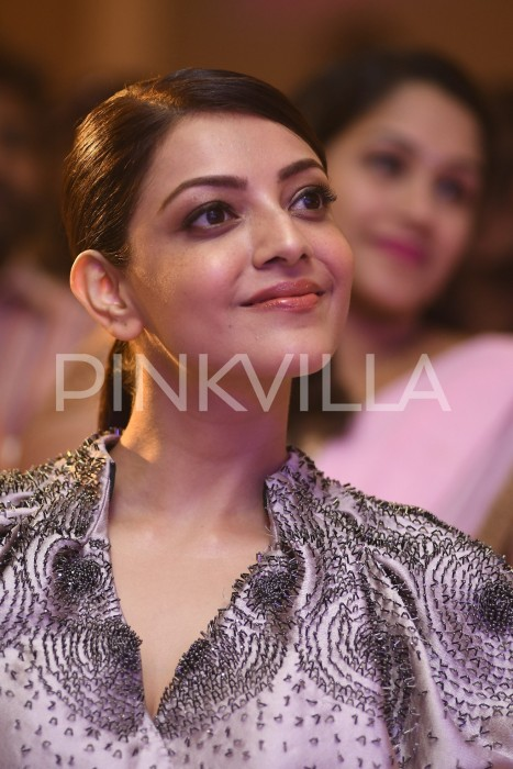 A graceful Kajal Aggarwal at the MLA pre-release event