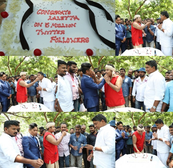 Mohanlal reaches five million Twitter followers, celebrates on the shoot location of Odiyan