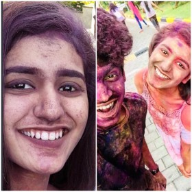 'National crush' Priya Varrier celebrates Holi with co-star Roshan Rahoof