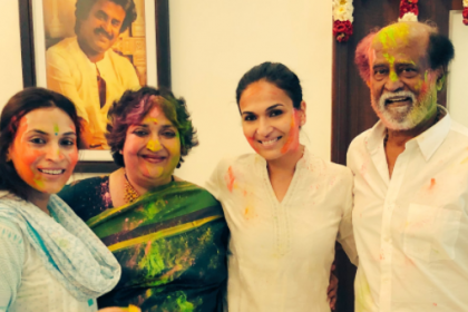 Superstar Rajinikanth celebrates Holi with family