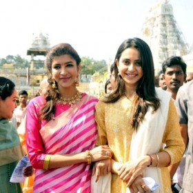 Rakul Preet bonds with actor Lakshmi Manchu in Tirupati