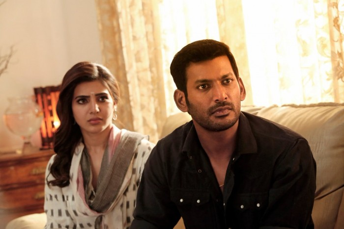 Vishal and Samantha Akkineni make a good pair in these stills from Irumbu Thirai
