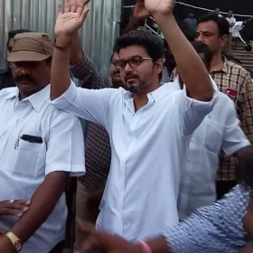 Watch: Vijay waves to his fans while shooting for film with AR Murugadoss