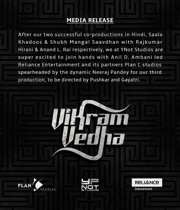 Official! Vikram Vedha to be remade in Hindi and will be directed by Pushkar-Gayatri
