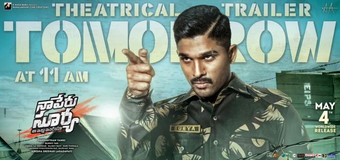 Trailer of Allu Arjun starrer Naa Peru Surya will be out soon
