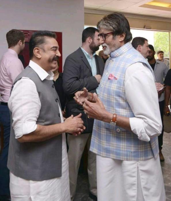 Photo: Kamal Haasan and Amitabh Bachchan share a light moment in Mumbai
