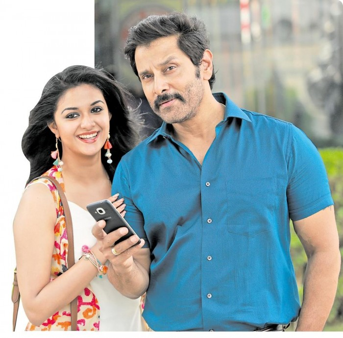 Vikram and Keerthy Suresh make a nice pair in this still from Saamy Square