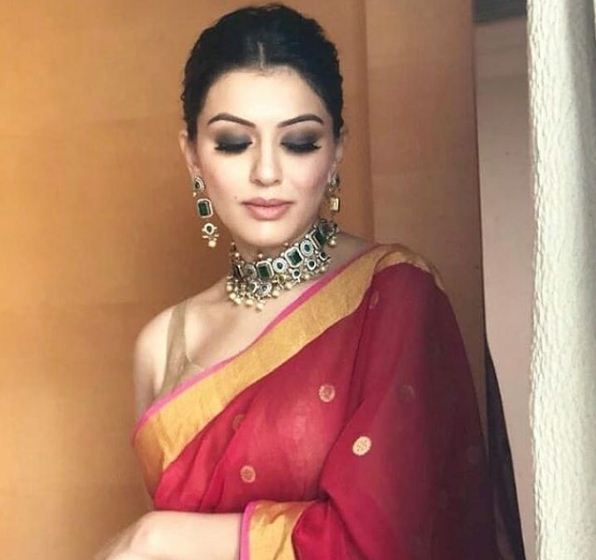 Style check: Hansika Motwani is elegance personified in a cherry red sari!