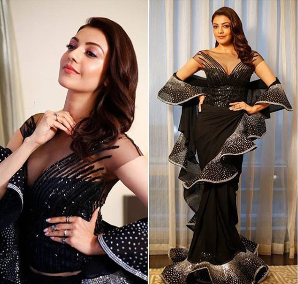 Kajal Aggarwal in a ruffled sari by designer duo Abu Jani and Sandeep Khosla.