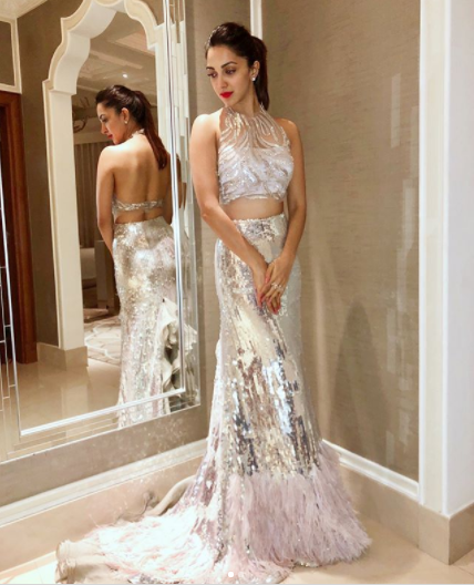 Kiara Advani shines in a stunning Manish Malhotra metallic sheen feather ensemble