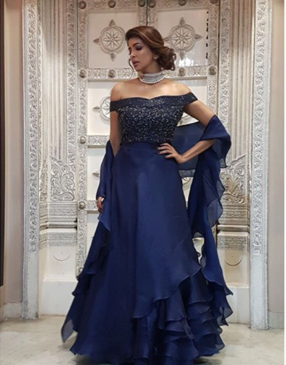 Lakshmi Manchu in a blue off-shoulder gown