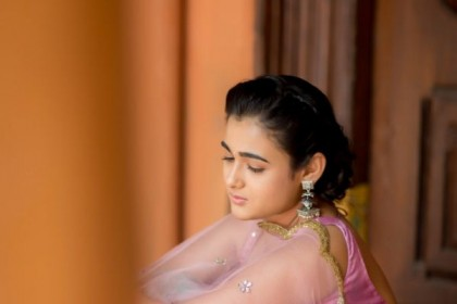 Shalini Pandey makes a pretty appearance in anarkali suit by Geethika Kanumilli!