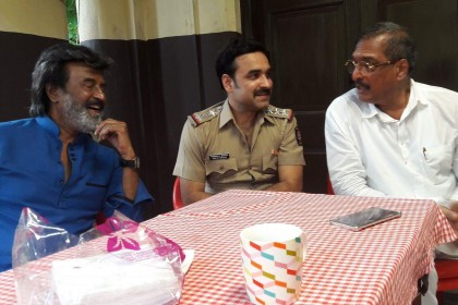 Rajinikanth, Pankaj Tripathi and Nana Patekar caught candid while having a conversation on the sets of Kaala