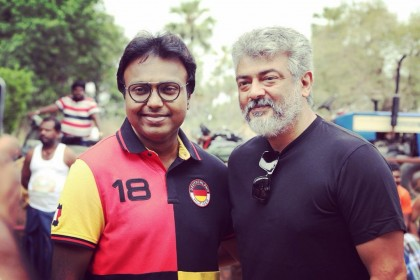 Photos: Music composer D Imman visits the shooting of sets of Ajith's Viswasam in Hyderabad