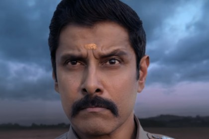 Saamy Square Motion Poster: Vikram is back as the ruthless police officer
