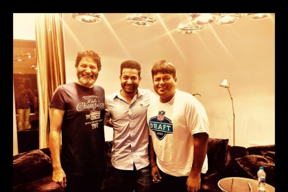 See Pic: Thaman, Trivikram and Jr NTR catch up as the music compositions for their film begin