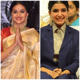 Samantha And Keerthy Suresh up the style quotient at Mahanati audio launch!