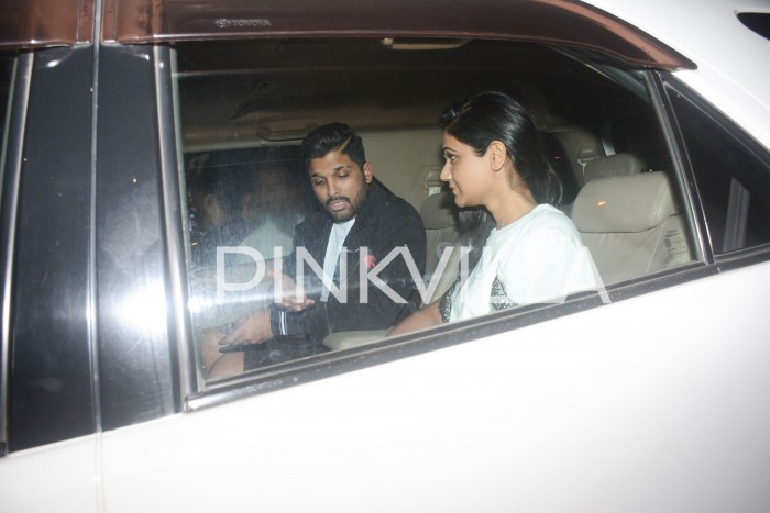 Allu Arjun and his wife clicked making their way in the car post dinner