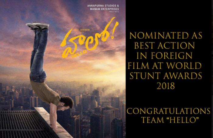 Akkineni Akhil starrer Hello gets nominated for World Stunt Awards