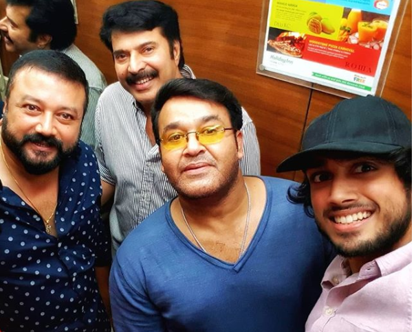 Mohanlal, Mammootty and Kalidas Jayaram pose for a selfie at AMMA celebrations event!