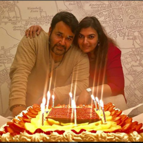 Watch: Mohanlal celebrates his birthday with wife Suchitra in London